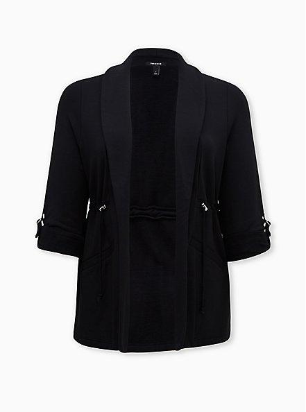 Black Modal Fleece Anorak, DEEP BLACK, hi-res