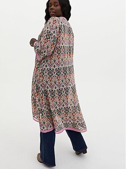 Light Pink Medallion Chiffon Hi-Lo Kimono, OTHER PRINTS, alternate