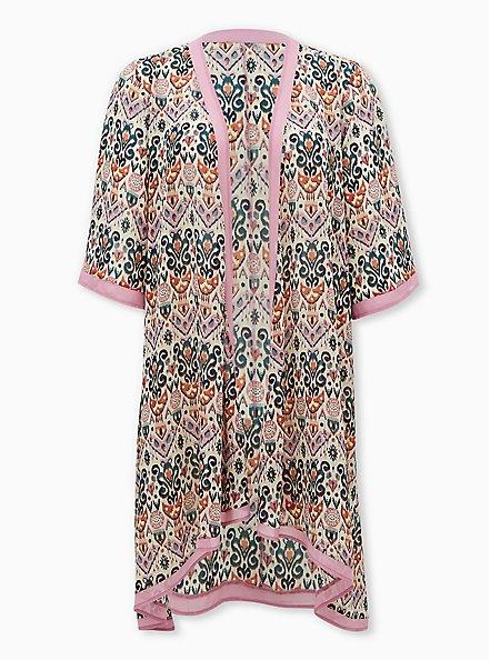 Light Pink Medallion Chiffon Hi-Lo Kimono, OTHER PRINTS, hi-res