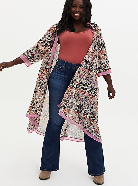 Light Pink Medallion Chiffon Hi-Lo Kimono, OTHER PRINTS, hi-res