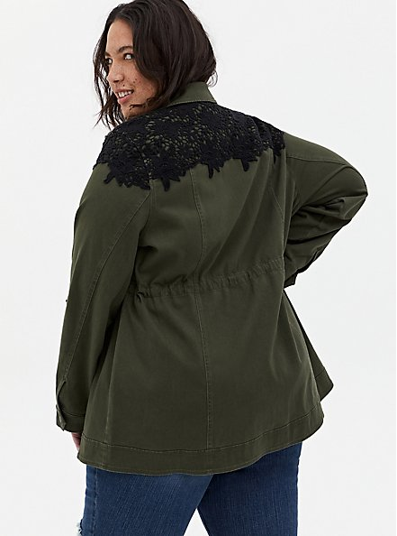Olive Green & Black Lace Twill Anorak, DEEP DEPTHS, alternate