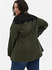 Olive Green & Black Lace Twill Anorak, DEEP DEPTHS, alternate