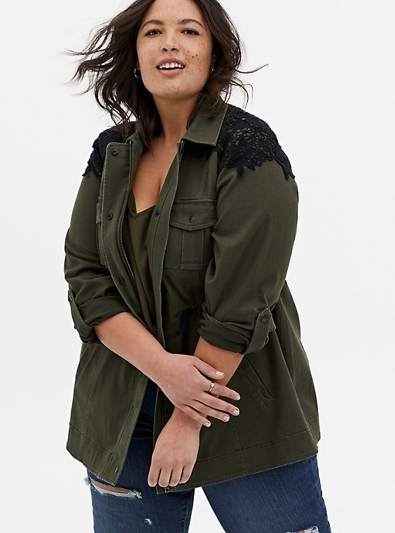 Olive Green & Black Lace Twill Anorak, DEEP DEPTHS, hi-res