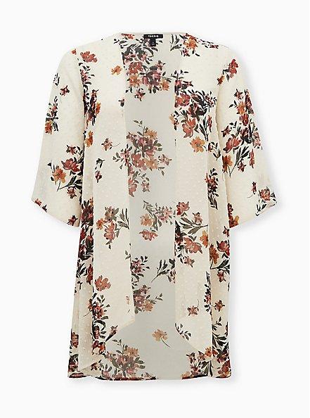 Taupe Floral Clip Dot Kimono, MULTI FORAL, hi-res