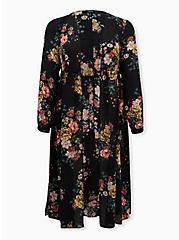 Black Floral Chiffon Tie-Front Duster Kimono, MULTI FORAL, hi-res