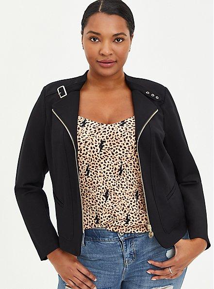 Black Ponte Moto Jacket , DEEP BLACK, hi-res