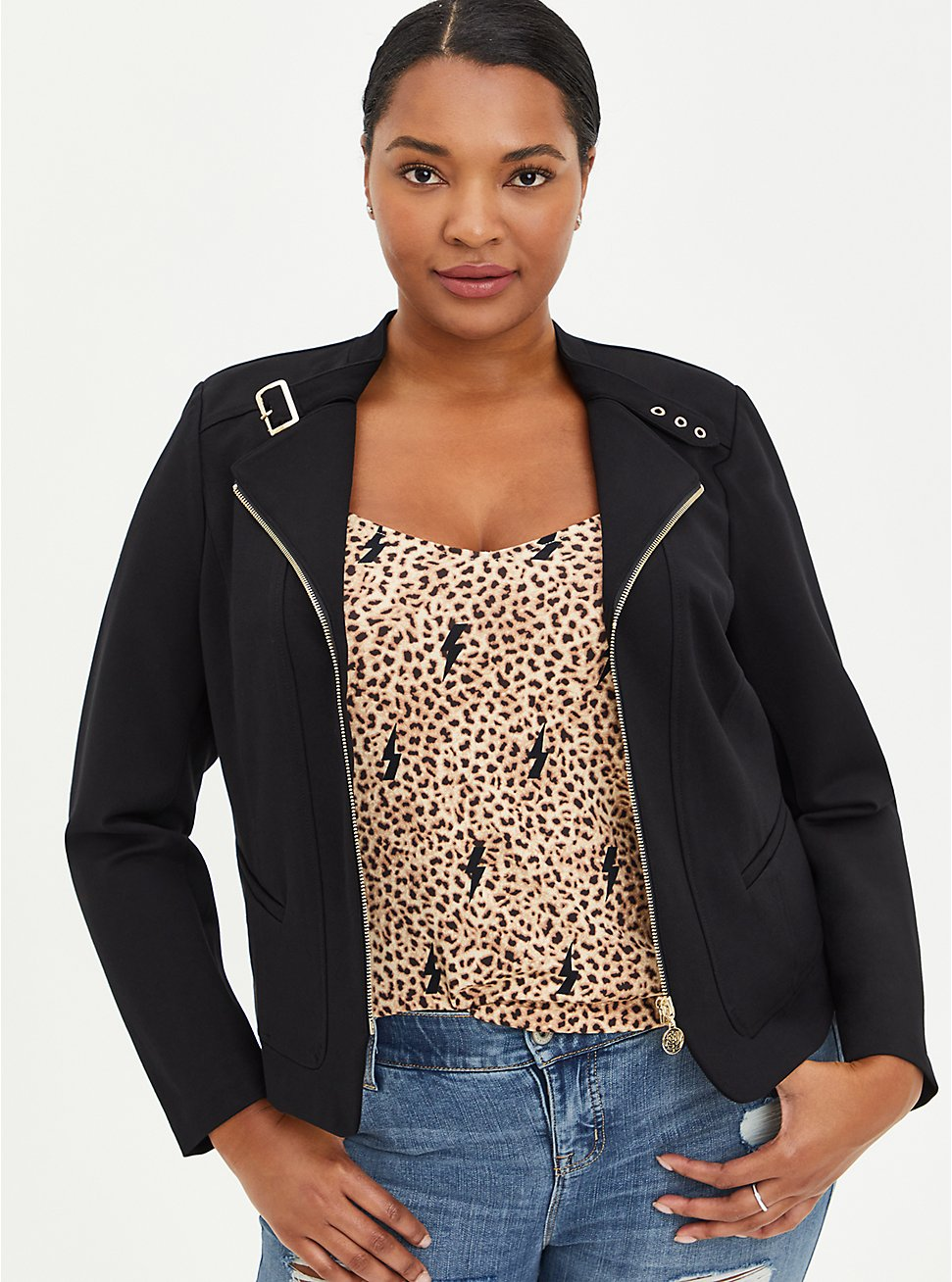 Black Ponte Moto Jacket , DEEP BLACK, hi-res
