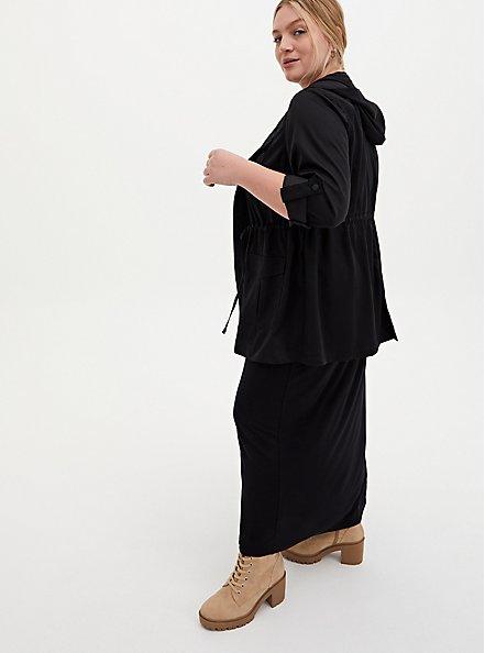 Black Tencel Tie-Front Hooded Anorak , DEEP BLACK, alternate
