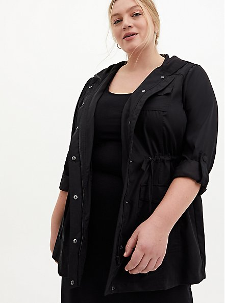 Black Tencel Tie-Front Hooded Anorak , DEEP BLACK, hi-res
