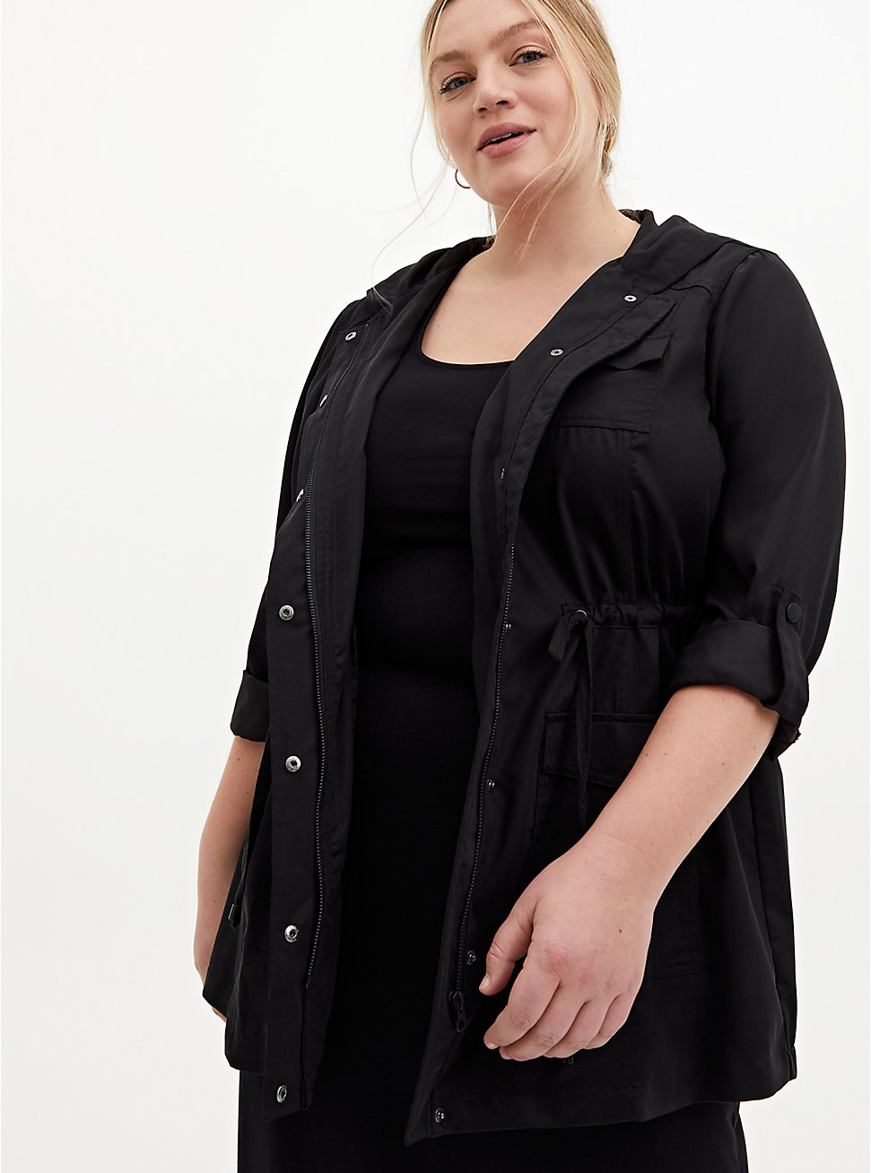 Black Tencel Tie-Front Hooded Anorak , DEEP BLACK, hi-res