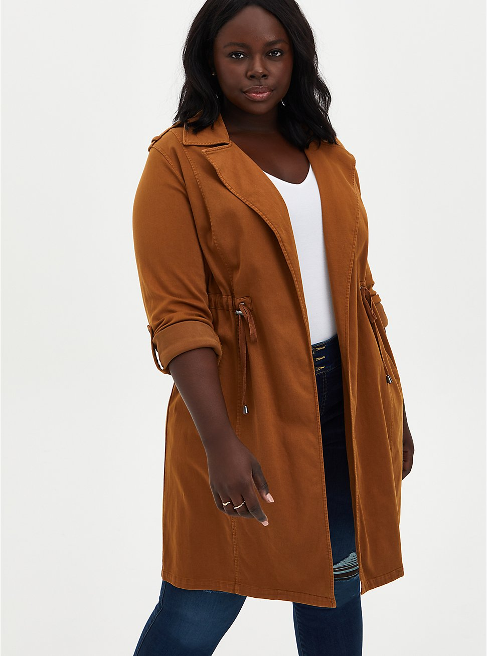 Cognac Twill Military Trench Coat, RUBBER, hi-res