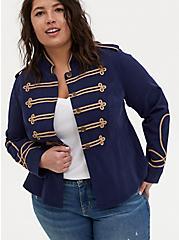 Navy Twill Crop Military Peplum Coat, PEACOAT, hi-res