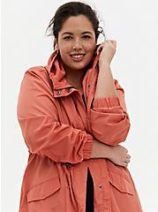 Dusty Orange Nylon Longline Rain Jacket, APRICOT BLUSH, alternate