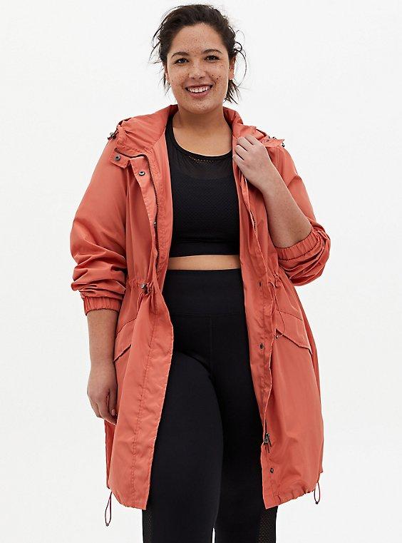 Dusty Orange Nylon Longline Rain Jacket, , hi-res