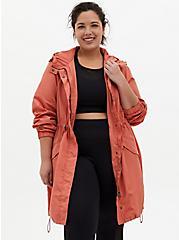 Dusty Orange Nylon Longline Rain Jacket, APRICOT BLUSH, hi-res