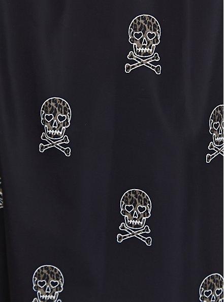 Black Leopard Skulls Nylon Longline Rain Jacket, SKULL, alternate