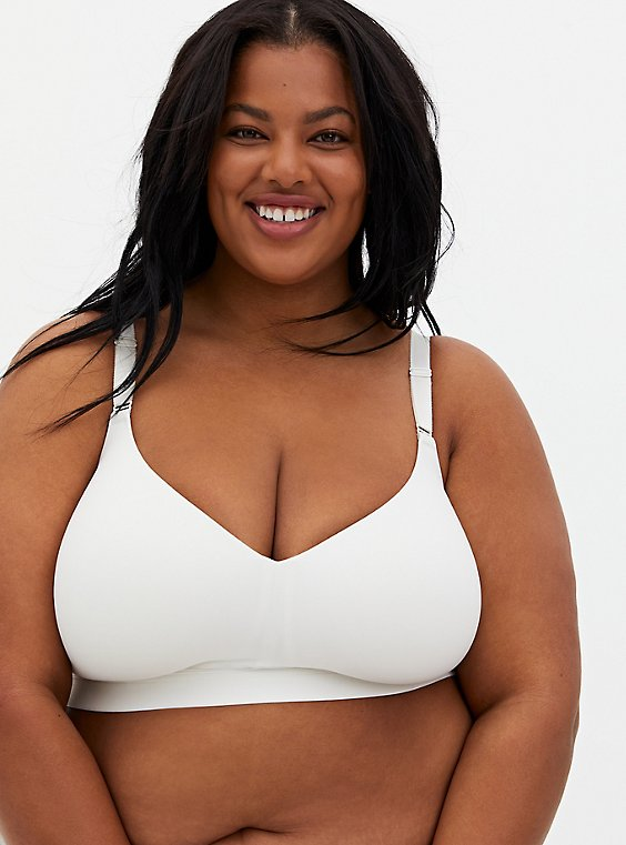 Lightly Lined Longline Everyday Wire-Free Bra - White with 360° Back Smoothing™ - , , hi-res