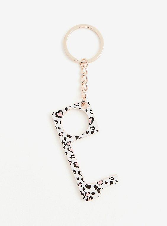 Pink Leopard Touchless Door Opener Keychain, , hi-res
