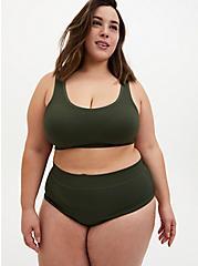 Olive Green Rib Seamless Brief Panty, DEEP DEPTHS, alternate