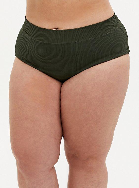 Olive Green Rib Seamless Brief Panty, , hi-res