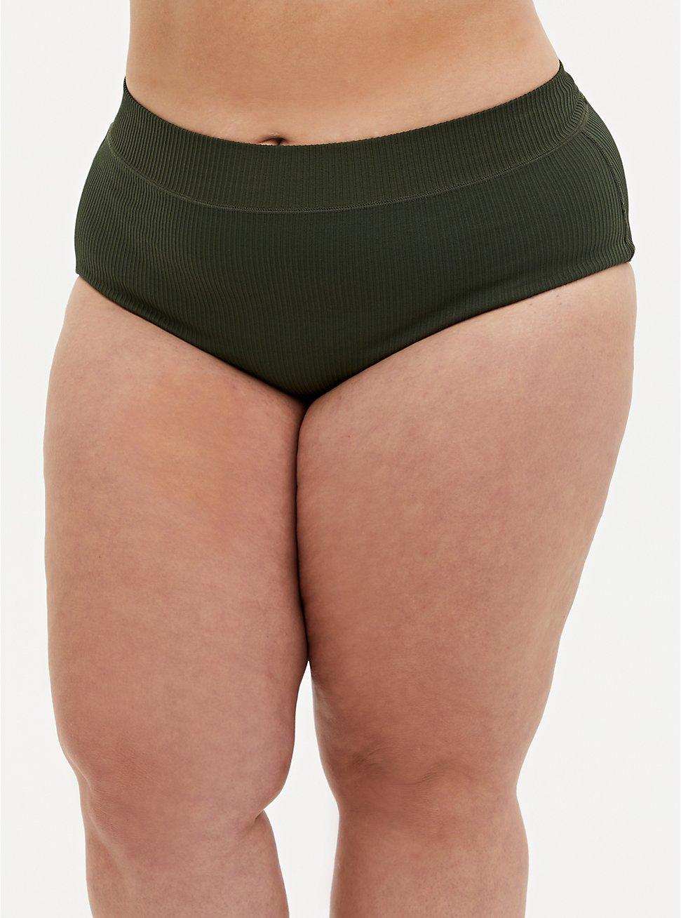 Olive Green Rib Seamless Brief Panty, DEEP DEPTHS, hi-res