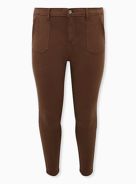 Sky High Twill Skinny Pant - Brown, DARK BROWN, hi-res
