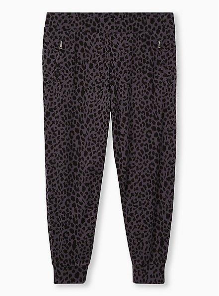 Relaxed Fit  Crop Jogger - Ponte Leopard Dark Grey, , hi-res