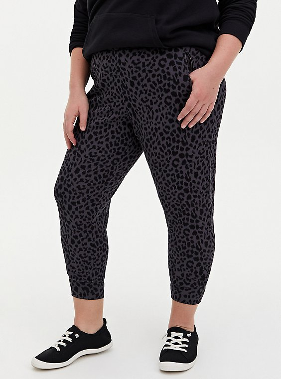 Relaxed Fit  Jogger - Ponte Leopard Dark Grey, , hi-res