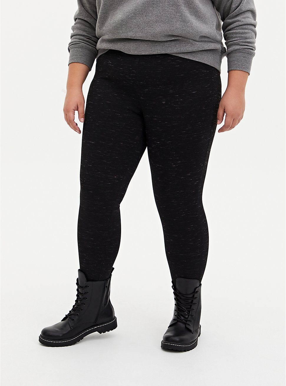Studio Premium Ponte Slim Fix Pull-On Pixie Pant - Space Dye Black , SPACE DYE, hi-res