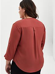 Harper - Marsala Red Georgette Pullover Blouse , RED, alternate
