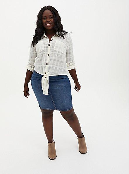 Ivory Cotton Tie Front Midi Shirt , VANILLA ICE, alternate
