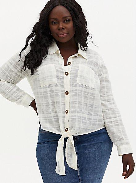 Ivory Cotton Tie Front Midi Shirt , VANILLA ICE, hi-res
