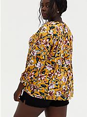 Golden Yellow Floral Crinkled Gauze Fit & Flare Top, FLORAL - YELLOW, alternate