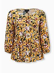 Golden Yellow Floral Crinkled Gauze Fit & Flare Top, FLORAL - YELLOW, hi-res