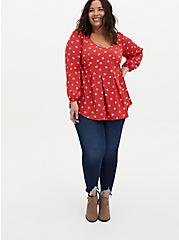Cranberry Red Diamond Dots Crinkled Gauze Fit & Flare Top, MULTI, alternate