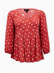 Cranberry Red Diamond Dots Crinkled Gauze Fit & Flare Top, MULTI, hi-res