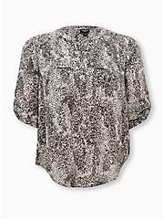 Harper - Grey Animal Print Georgette Pullover Blouse , MULTI, hi-res