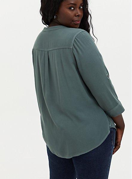 Harper - Pine Green Twill Pullover Blouse , BLUE, alternate