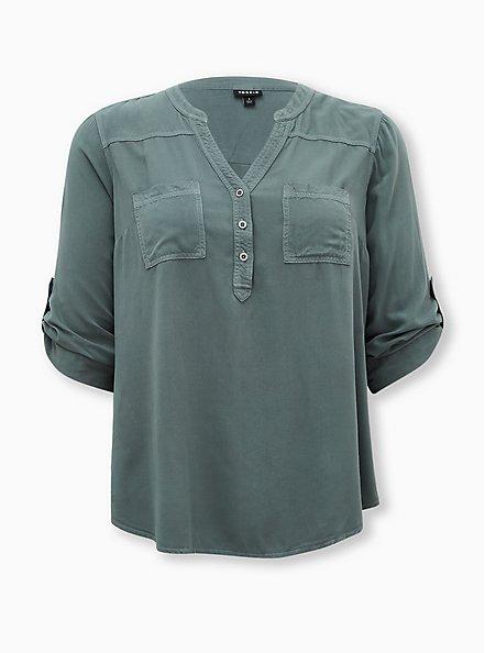 Harper - Pine Green Twill Pullover Blouse , BLUE, hi-res