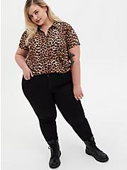 Leopard Stretch Challis Button Down Shirt, LEOPARD - BROWN, alternate