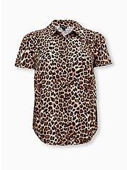 Leopard Stretch Challis Button Down Shirt, LEOPARD - BROWN, hi-res