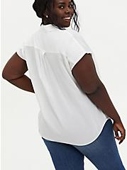 White Challis Button Down Dolman Shirt, CLOUD DANCER, alternate