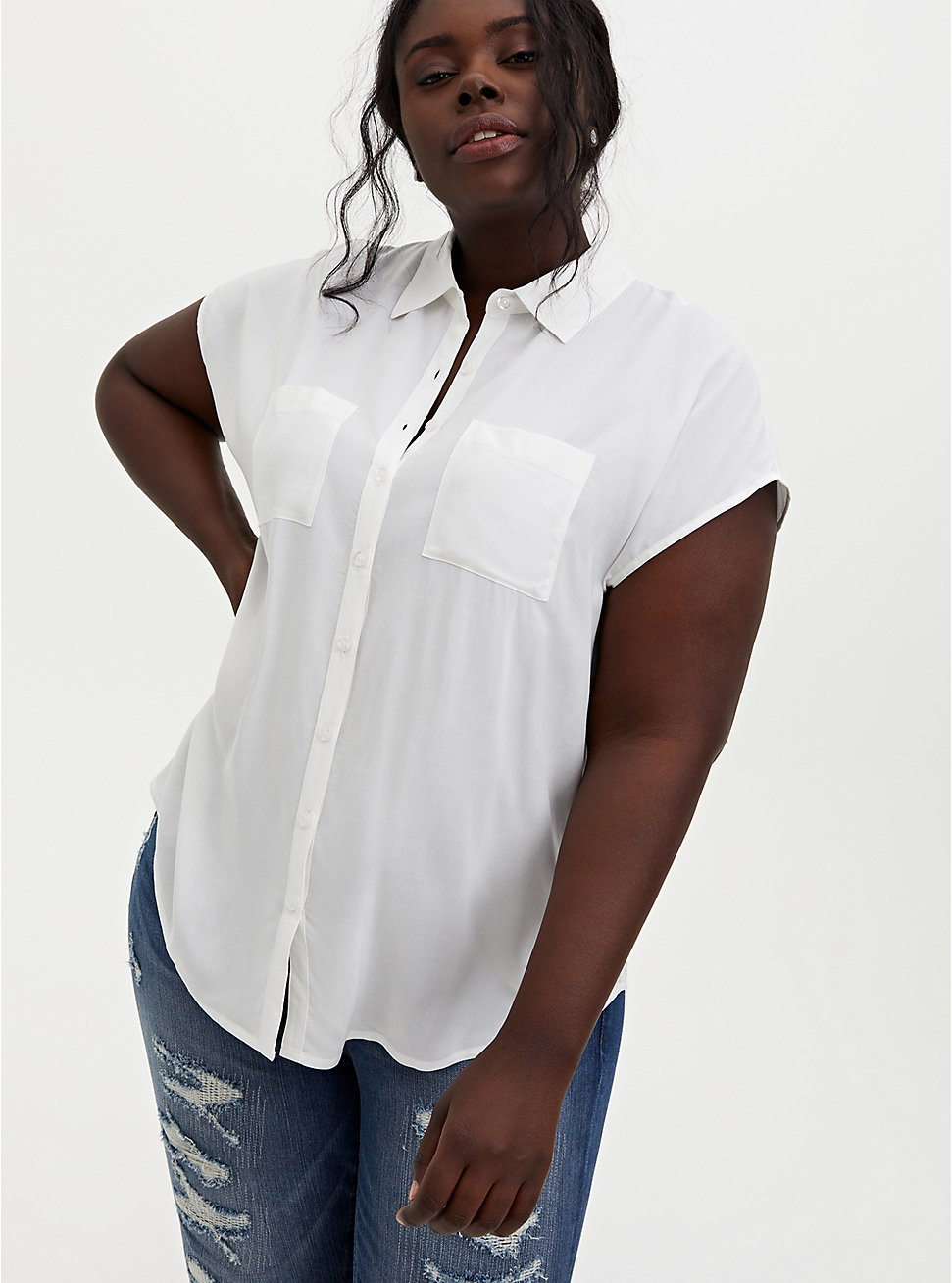 White Challis Button Down Dolman Shirt, CLOUD DANCER, hi-res