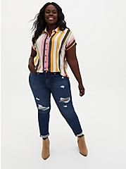 Multi Stripe Challis Button Down Dolman Shirt, STRIPE - MULTI, alternate