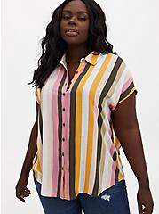 Multi Stripe Challis Button Down Dolman Shirt, STRIPE - MULTI, hi-res