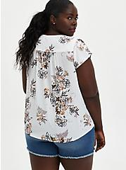 White Floral Georgette Tulip Blouse, FLORAL - WHITE, alternate