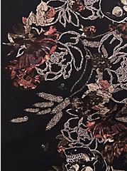 Black Floral Georgette Flutter Blouse, FLORAL - BLACK, alternate