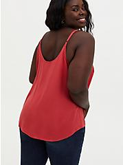 Ava - Cranberry Red Stretch Challis Cami, RED, alternate