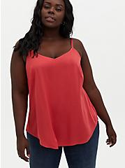Ava - Cranberry Red Stretch Challis Cami, RED, hi-res