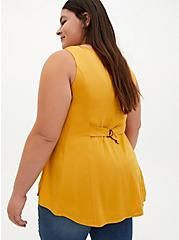 Golden Yellow Stretch Challis Fit & Flare Tank, YELLOW, alternate